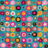 Fun flowers pattern Royalty Free Stock Images