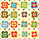Fun flowers and polka dot seamless pattern. Colorful Stock Photography