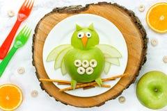 Fun food art apple owl Royalty Free Stock Photos