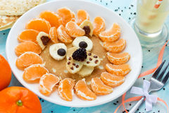 Fun food art idea for kids - lion pancake. For breakfast Stock Image