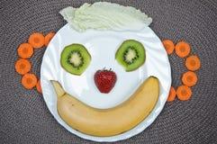Fun food. Banana smile. Fun food. Creative food.Banana smile royalty free stock photography