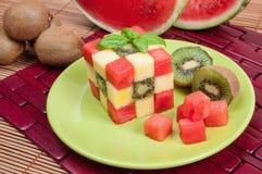 Fun food. Fruit cube stock photography