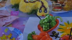 Fun food for kids on celebrating stock video footage
