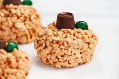 Crispy Rice and Marshmallow Mini Pumpkins Desserts Royalty Free Stock Image
