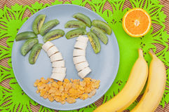 Fun food. Palm trees made from fruits stock photography
