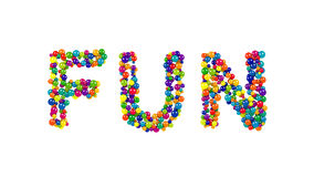 FUN formed from colorful balls over white Royalty Free Stock Images