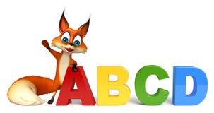 Fun Fox cartoon character with ABCD sign Stock Photos