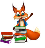 Fun Fox cartoon character with book stack and school bag Stock Photo
