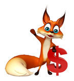 Fun Fox cartoon character with doller sign Royalty Free Stock Photo