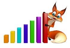 Fun Fox cartoon character with graph Stock Photography