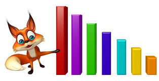 Fun Fox cartoon character with graph Royalty Free Stock Images