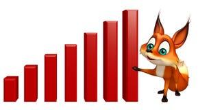 Fun Fox cartoon character with graph Stock Photos
