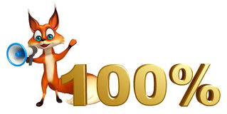 Fun Fox cartoon character with 50% sign Stock Images