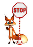 Fun Fox cartoon character  with stop sign Royalty Free Stock Photography