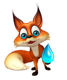 Fun Fox cartoon character with water drop Royalty Free Stock Image