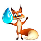 Fun Fox cartoon character with water drop Stock Images