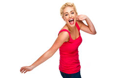 Fun and Free -Woman Laughing and Dancing Stock Photo