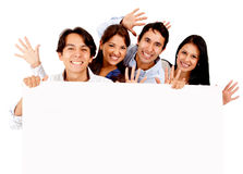 Fun friends with a banner Royalty Free Stock Photo