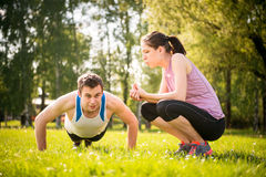 Fun - friends training together Stock Photos