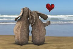 Elephant, Love, Romance, Beach, Ocean, Valentine, Sea