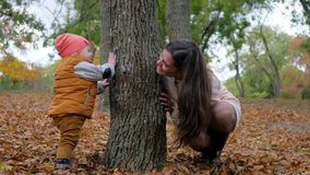 Fun game outdoors on fall day, happy mom with son plays beside tree in autumn park. Fun game outdoors on a fall day, happy mom with son plays beside tree in stock footage