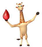 Fun Giraffe cartoon character with blood sign Royalty Free Stock Image