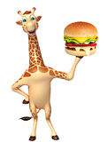 Fun Giraffe cartoon character  with burger Stock Photo