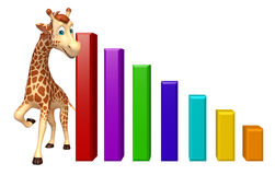 Fun Giraffe cartoon character  with graph Royalty Free Stock Photo