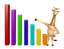 Fun Giraffe cartoon character  with graph Royalty Free Stock Photography