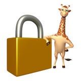 Fun Giraffe cartoon character  with lock Stock Images