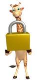 Fun Giraffe cartoon character  with lock Royalty Free Stock Image