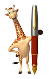Fun Giraffe cartoon character with pen Royalty Free Stock Photos