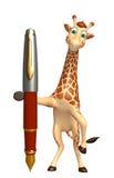 Fun Giraffe cartoon character with pen. 3d rendered illustration of Giraffe cartoon character with pen Royalty Free Stock Photos