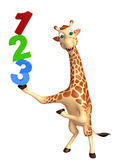 Fun Giraffe cartoon character with 123 sign. 3d rendered illustration of Giraffe cartoon character with 123 sign vector illustration