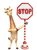 Fun Giraffe cartoon character with stop sign Stock Images