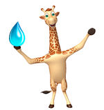 Fun Giraffe cartoon character with water drop Royalty Free Stock Photography