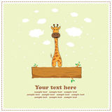 Fun giraffe, greeting card, vector Stock Image