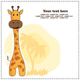 Fun giraffe, greeting card, vector Stock Photography