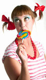 Fun girl with candy Royalty Free Stock Photography