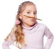 Fun girl. Isolated on white. School child elementary. Humour stock photos