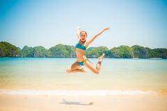 Fun girl jumping Royalty Free Stock Image