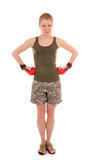 Fun girl with red boxing gloves Royalty Free Stock Images