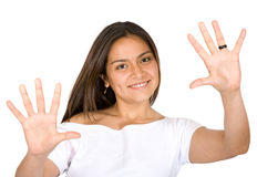 Fun girl showing her hands Royalty Free Stock Photography