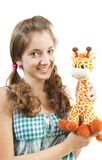 Fun girl and soft toy Royalty Free Stock Photo