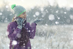 Fun girl in winter forest Stock Photos