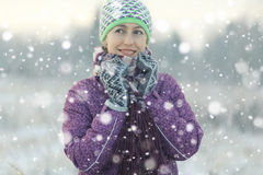 Fun girl in winter forest Royalty Free Stock Photo