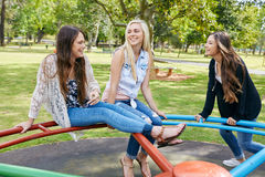Fun girls park Stock Image