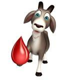 Fun Goat cartoon character with blood drop Stock Photo