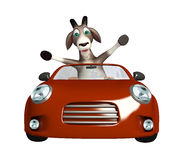 Fun Goat cartoon character with  car Stock Photo