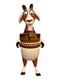 Fun Goat cartoon character with clock Royalty Free Stock Photography